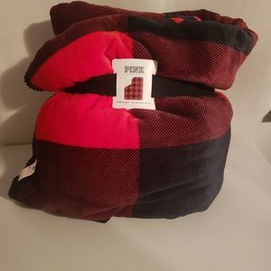 PINK sherpa plaid blanket